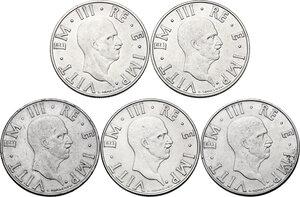 obverse: Vittorio Emanuele III (1900-1943). Lotto di cinque (5) monete da 2 lire: 1939, 1940, 1941, 1942, 1943
