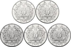 reverse: Vittorio Emanuele III (1900-1943). Lotto di cinque (5) monete da 2 lire: 1939, 1940, 1941, 1942, 1943