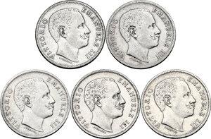 obverse: Vittorio Emanuele III (1900-1943). Serie di cinque (5) monete da 1 lira: 1901, 1902, 1905, 1906, 1907