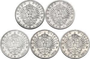 reverse: Vittorio Emanuele III (1900-1943). Serie di cinque (5) monete da 1 lira: 1901, 1902, 1905, 1906, 1907