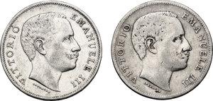 obverse: Vittorio Emanuele III (1900-1943). Lotto di due (2) monete da 1 lira: 1901 e 1902
