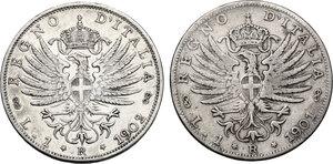reverse: Vittorio Emanuele III (1900-1943). Lotto di due (2) monete da 1 lira: 1901 e 1902