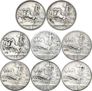 reverse: Vittorio Emanuele III (1900-1943). Serie di tre (3) monete da 1 lira: 1915, 1916, 1917