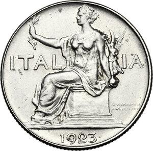 obverse: Vittorio Emanuele III (1900-1943). Buono da 1 lira 1923, asse spostato di 15°