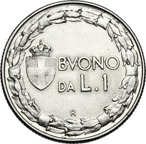 reverse: Vittorio Emanuele III (1900-1943). Buono da 1 lira 1923, asse spostato di 15°