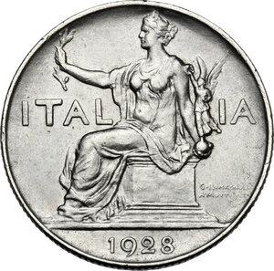 obverse: Vittorio Emanuele III (1900-1943). Buono da 1 lira 1928, asse spostato di 15°