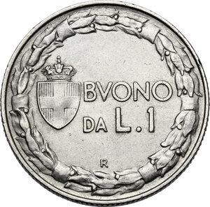 reverse: Vittorio Emanuele III (1900-1943). Buono da 1 lira 1928, asse spostato di 15°