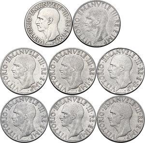 obverse: Vittorio Emanuele III (1900-1943). Lotto di otto (8) monete da 1 lira: 1936 (lucidata), 1939 (XVII), 1939 (XVIII), 1940, 1940 (calamitabile), 1941, 1942, 1943