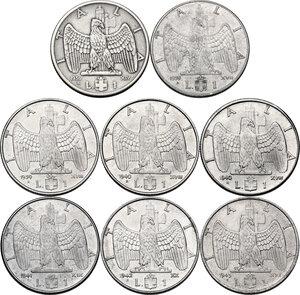 reverse: Vittorio Emanuele III (1900-1943). Lotto di otto (8) monete da 1 lira: 1936 (lucidata), 1939 (XVII), 1939 (XVIII), 1940, 1940 (calamitabile), 1941, 1942, 1943