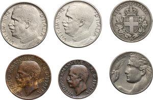 obverse: Vittorio Emanuele III (1900-1943). Serie 1919 comprendente 50 centesimi bordo liscio e bordo rigato, 20 centesimi esagono e donna librata, 10 e 5 centesimi