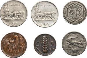 reverse: Vittorio Emanuele III (1900-1943). Serie 1919 comprendente 50 centesimi bordo liscio e bordo rigato, 20 centesimi esagono e donna librata, 10 e 5 centesimi