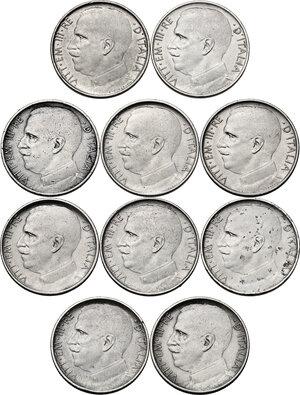 obverse: Vittorio Emanuele III (1900-1943). Lotto di dieci (10) monete da 50 centesimi : 1919, 1920, 1921, 1924, 1925. Tutti gli esemplari sono presenti sia con bordo liscio che rigato
