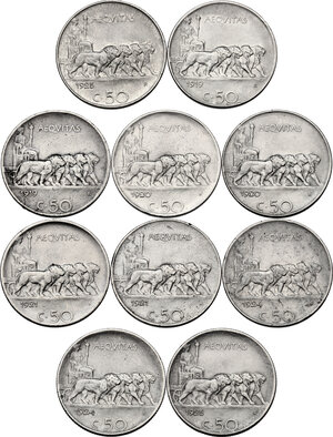 reverse: Vittorio Emanuele III (1900-1943). Lotto di dieci (10) monete da 50 centesimi : 1919, 1920, 1921, 1924, 1925. Tutti gli esemplari sono presenti sia con bordo liscio che rigato
