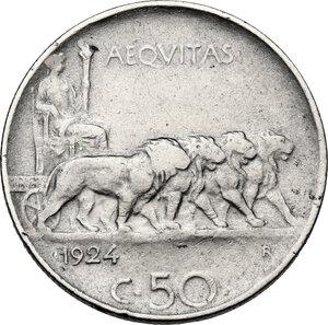 reverse: Vittorio Emanuele III (1900-1943). 50 centesimi 1924 bordo rigato