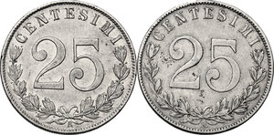 reverse: Vittorio Emanuele III (1900-1943). Serie di due (2) monete da 25 centesimi: 1902, 1903