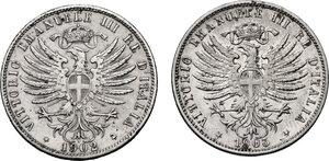 obverse: Vittorio Emanuele III (1900-1943). Lotto di due (2) monete da 25 centesimi: 1902 e 1903