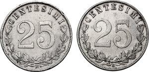 reverse: Vittorio Emanuele III (1900-1943). Lotto di due (2) monete da 25 centesimi: 1902 e 1903