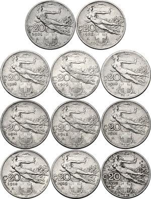 reverse: Vittorio Emanuele III (1900-1943). Lotto di undici (11) monete da 20 centesimi: 1908, 1909, 1910, 1911, 1912, 1913, 1914, 1919, 1920, 1921, 1922