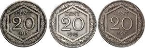 reverse: Vittorio Emanuele III (1900-1943). Lotto di tre (3) monete da 20 centesimi: 1918, 1919, 1920. Bordo liscio