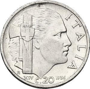 reverse: Vittorio Emanuele III (1900-1943). 20 centesimi 1936