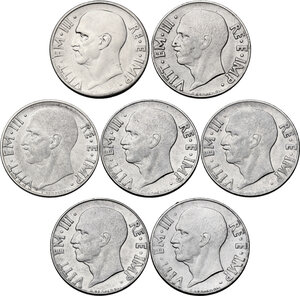 obverse: Vittorio Emanuele III (1900-1943). Lotto di sette (7) monete da 20 centesimi: 1936 (ludidata), 1939 (XVII), 1939 (XVIII), 1940, 1941, 1942, 1943