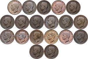 obverse: Vittorio Emanuele III (1900-1943). Serie completa di diciannove (19) monete da 10 centesimi: dal 1919 al 1937