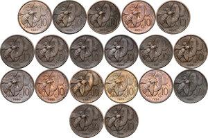 reverse: Vittorio Emanuele III (1900-1943). Serie completa di diciannove (19) monete da 10 centesimi: dal 1919 al 1937