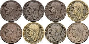obverse: Vittorio Emanuele III (1900-1943). Lotto di otto (8) monete da 10 centesimi: 1936, 1937, 1938, 1939, 1939 (bronzital) 1940, 1942, 1943