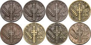 reverse: Vittorio Emanuele III (1900-1943). Lotto di otto (8) monete da 10 centesimi: 1936, 1937, 1938, 1939, 1939 (bronzital) 1940, 1942, 1943
