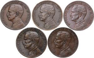 obverse: Vittorio Emanuele III (1900-1943). Lotto di cinque (5) monete da 5 centesimi: 1909, 1912, 1913, 1915, 1918