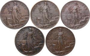 reverse: Vittorio Emanuele III (1900-1943). Lotto di cinque (5) monete da 5 centesimi: 1909, 1912, 1913, 1915, 1918