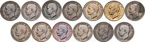 obverse: Vittorio Emanuele III (1900-1943). Serie completa di diciannove (19) monete da 5 centesimi: 1919-1937