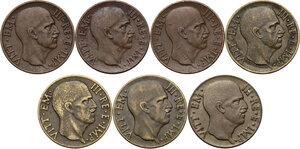 obverse: Vittorio Emanuele III (1900-1943). Lotto di sette (7) monete da 5 centesimi: 1936, 1938, 1939, 1940, 1941, 1942, 1943