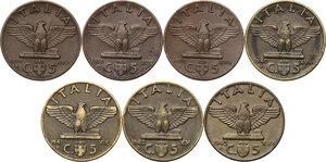 reverse: Vittorio Emanuele III (1900-1943). Lotto di sette (7) monete da 5 centesimi: 1936, 1938, 1939, 1940, 1941, 1942, 1943