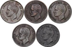 obverse: Vittorio Emanuele III (1900-1943). Serie di cinque (5) monete da 2 centesimi: 1903, 1905, 1906, 1907, 1908