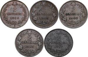 reverse: Vittorio Emanuele III (1900-1943). Serie di cinque (5) monete da 2 centesimi: 1903, 1905, 1906, 1907, 1908