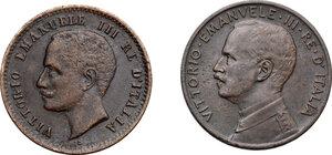obverse: Vittorio Emanuele III (1900-1943). Lotto di due (2) monete da 2 centesimi
