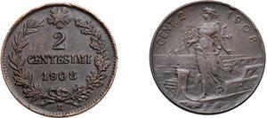 reverse: Vittorio Emanuele III (1900-1943). Lotto di due (2) monete da 2 centesimi