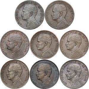 obverse: Vittorio Emanuele III (1900-1943). Lotto di otto (8) monete da 2 centesimi: 1909, 1910, 1911, 1912, 1914, 1915, 1916, 1917