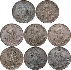 reverse: Vittorio Emanuele III (1900-1943). Lotto di otto (8) monete da 2 centesimi: 1909, 1910, 1911, 1912, 1914, 1915, 1916, 1917