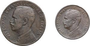 obverse: Vittorio Emanuele III (1900-1943). Lotto di due (2) monete: 2 e 1 centesimi 1911