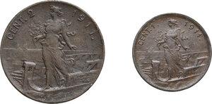 reverse: Vittorio Emanuele III (1900-1943). Lotto di due (2) monete: 2 e 1 centesimi 1911