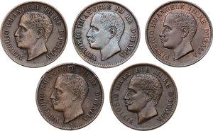 obverse: Vittorio Emanuele III (1900-1943). Lotto di cinque (5) monete da 1 centesimo: 1903, 1903 (cifra 3 più bassa), 1904, 1905, 1908