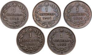 reverse: Vittorio Emanuele III (1900-1943). Lotto di cinque (5) monete da 1 centesimo: 1903, 1903 (cifra 3 più bassa), 1904, 1905, 1908
