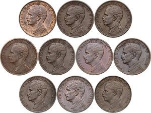 obverse: Vittorio Emanuele III (1900-1943). Lotto di dieci (10) monete da 1 centesimo: 1909, 1910, 1911 (con punto), 1912, 1913, 1914, 1915, 1916, 1917, 1918