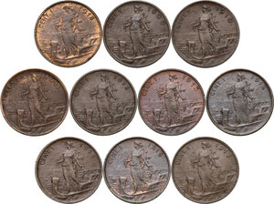 reverse: Vittorio Emanuele III (1900-1943). Lotto di dieci (10) monete da 1 centesimo: 1909, 1910, 1911 (con punto), 1912, 1913, 1914, 1915, 1916, 1917, 1918