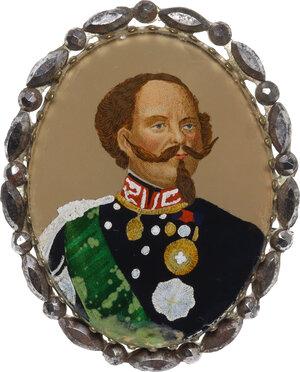 obverse: Vittorio Emanuele II (1820-1878).Miniatura con ritratto giovanile del Re, dipinta con smalti su lamina di metallo e montata a spilla entro cornice