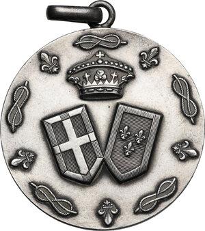obverse: Medaglia celebrativa per le nozze tra Eugenio di Savoia-Genova, duca di Ancona (1906-1996) e Lucia di Borbone delle Due Sicilie tenutesi il 29 Ottobre 1938 nel castello di Nymphenburg in Germania