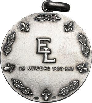 reverse: Medaglia celebrativa per le nozze tra Eugenio di Savoia-Genova, duca di Ancona (1906-1996) e Lucia di Borbone delle Due Sicilie tenutesi il 29 Ottobre 1938 nel castello di Nymphenburg in Germania