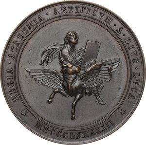 obverse: Leone XIII (1878-1903), Gioacchino Pecci.Medaglia 1893 per il terzo centenario della fondazione dell Accademia di San Luca